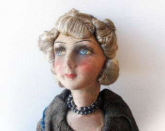 French Boudoir Doll Antique Hand Painted Doll