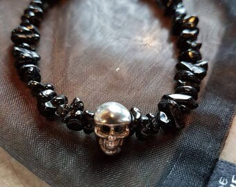 Black Spinel Nuggets and 925 Sterling Silver Skull Charm bracelet.