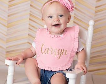 Pink Ruffle Bib, Personalized Bib, Name Bib, Baby Name Bib,Cake Smash Bib,Pink and Gold First Birthday,Ruffle Bib,Pink Bib,Personalized Baby