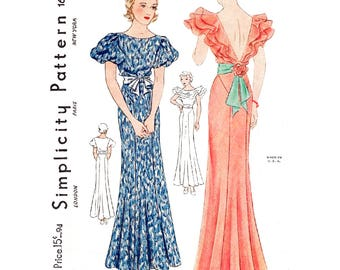 1930s 30s evening gown // vintage sewing pattern reproduction // cascading ruffles // sash waist // PICK YOUR SIZE bust 32 34 36 38 40
