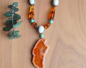 Large Agate Necklace, Turquoise and Tiger beads, Boho Necklace, Chunky Beaded Necklace,