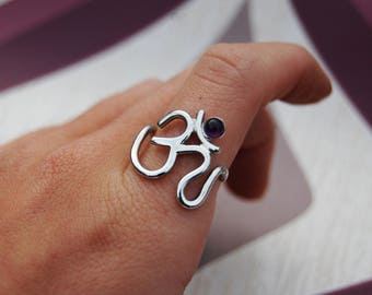 Amethyst OM Symbol Ring - Handmade Sterling Silver 925 - Aum Mantra Yoga Meditation - Spiritual Sanskrit Sign - Gemstone Crystal Healing -