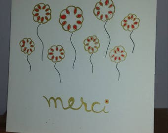 "Double strand ""merci"" greeting card"