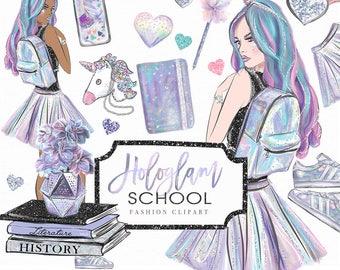 Hologlam School Clip art Hand drawn Unicorn Girl Student Books Fashion Illustration | Planner Stickers Digital Graphic Resources Cliparts