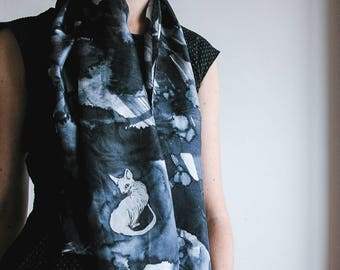 Handpainted silk Scarf with Sphynx cat