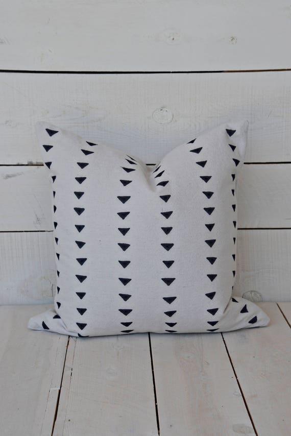 Mud Cloth pillow cover, triangles, shown in 20x20 and available in 16x16, 18x18, 20x20, 16x24 and 16x26.