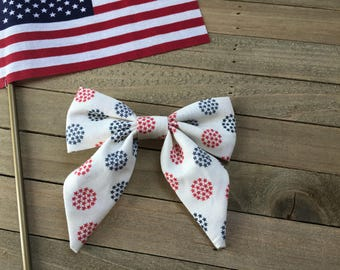 Liberty Collection \\ The Phoebe Bow // in Red and Blue Star, Fourth of July Bow, 4th of July Hairbow, Sailor Bow, Oversized Hair Bow