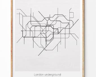 London underground, Underground map, Underground poster, Great Britain Tube, London tube, Minimalist print, Monochrome, United kingdom art