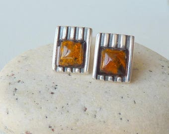 Honey Amber Sterling Silver Stud Earrings, Vintage  Amber Earrings, Brown Genuine Baltic Stud 925, Retro Baltic, Geometric Amber Jewelry