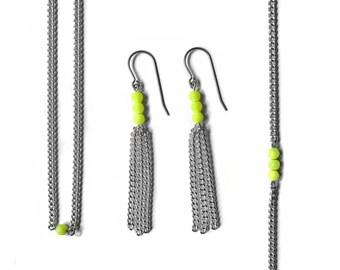 Neon Yellow Earring Gift Set, Beaded Choker Necklace, Dainty Bracelet Set, Tassel Earrings, Minimalist Jewelry Set, Silver Necklace Set