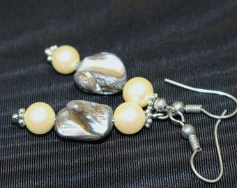 Vintage Wire Pierced Drop Earring Black Rhino Design Abalone Oyster Polished Shell Blister Faux Pearls Greys Taupes Blues Greens Unique Pair