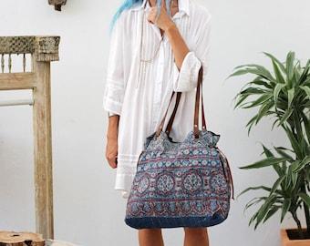 Embroidered Quilted Large Shoulder Bag Tote Bag For Women- Vintage Tribal Ethnic Boho Gypsy Bag