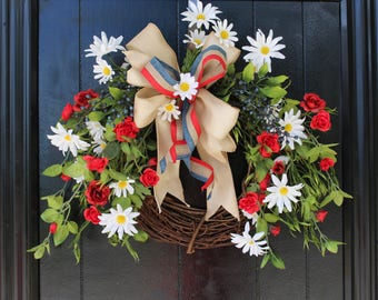 Summer Wreath for front Door, Fourth of July Wreath, Patriotic Wreath, USA Wreath, Front Door Wreath, 4th of July Wreath, Red White and Blue