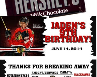 Chicago Blackhawks Hockey Candy Bar Wrappers Baby Shower or Birthday 1.55 oz. Hershey's Chocolate Nestle Crunch