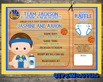Printable Golden State Warriors Basketball Baby Shower Invitations Boy Personalized attached Diaper Raffle Ticket