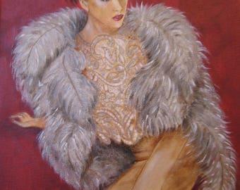 Portrait of a woman, high fashion, luxury, fur, lace