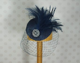 Navy Birdcage Veil Fascinator Crystal brooch Feather Mount Races netting Wedding hair comb net blue vintage retro