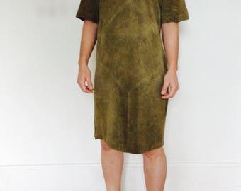 Olive suede dress boxy dress suede shift dress pullover dress minimalist dress 80s dress green suede dress size m dress minimalist dress