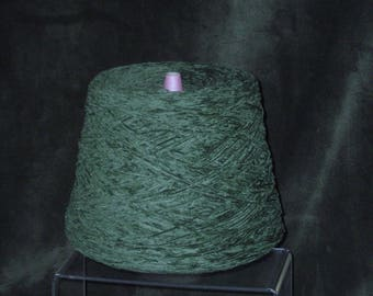 Quaker Chenille Yarn Cone, Deep Green Sheen Pinemoss Color for Guys & Girls for Vintage or Contemporary Knitting Gifts for All Occasions