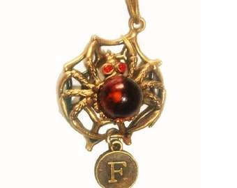 Catching luck mascot Mens necklace Spider jewelry Insect jewelry with amber pendant Web Spider pendant brass red Spider necklace gift man
