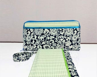 Blue and Green Zip Tract Wallet/Clutch with detachable wrist strap