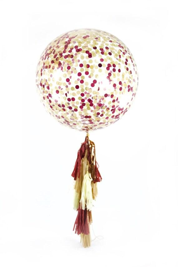 """36"""" Merlot Balloon, Giant Clear Balloon, Confetti Balloon, Tassel Balloon, First Birthday Wedding Balloon Valentines Day Bridal Shower"""