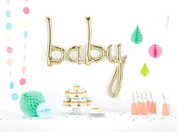 Giant Baby Balloon, Script Balloon, White Gold Baby Shower Balloon, Champagne Balloon, Baby shower Decor, Baby Photo Prop, First Birthday
