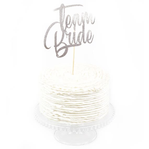 Team Bride Silver Glitter Cake Toppers, Toothpick Cake Topper Silver Cake Silver Glitter Wedding Cake Topper Bridal Bachelorette Holographic