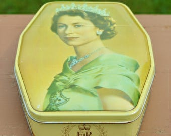 Queen Elizabeth II Commemorative Coronation Candy Tin, Circa 1950s