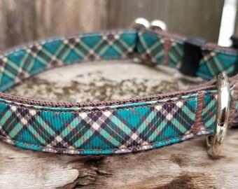 Blue Plaid dog collars