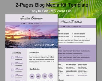 Blogger Media Kit, Two Page Media Kit, Media Kit Template, Press Kit Template, Media Kit, Professional Media Kit, Media Kit Word, Media kit