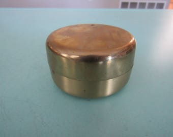 Vintage Round Brass Trinket Box Free Shipping