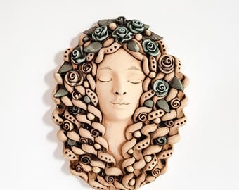 Wall decor; Woman wall sculpture; White Wall hanging; Ceramic Wall mask; Fine art; Home or Living room decor; wall art; Gift for mom;