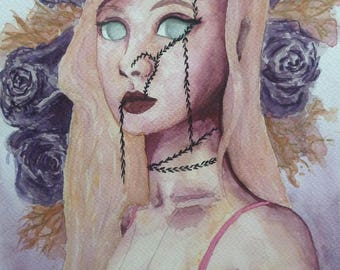 A4 Watercolour Painting of an Original Character called Rose