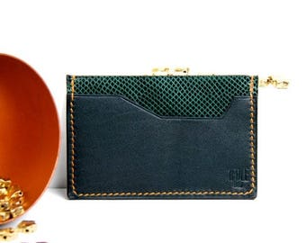 ON SALE Cards holder green (snake and calf) leather - hand-stitched in Paris - topstitching thread orange - finishes top of range