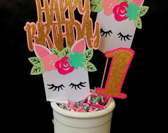 Unicorn Centerpiece - unicorn party - unicorn birthday decorations - party supplies - gold unicorn - unicorn table decorations
