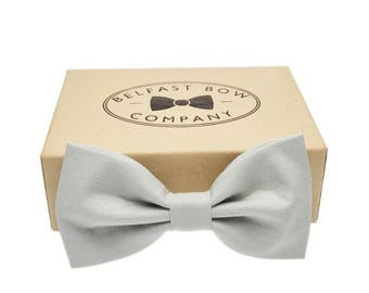Handmade Bow Tie in Light Grey - Adult & Junior sizes available