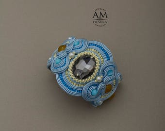 Soutache Jewelry Inspirational Bracelet Light Blue Cuff Bracelet For Women Valentines Day Gift For Wife Romantic Gift For Her