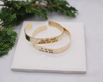 It is Well Gold Cuff Bracelet