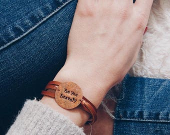 Customized Leather Wrap Bracelet, Small Round Copper