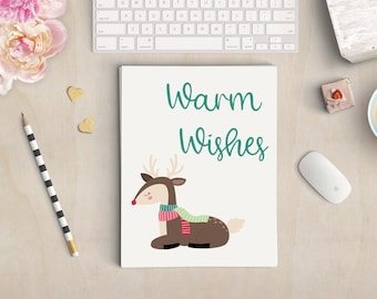 Warm Wishes Christmas Print - Christmas Decor - Winter Print - Holiday Poster- Christmas Wall Art - Holiday Decor- Home Decor- Reindeer