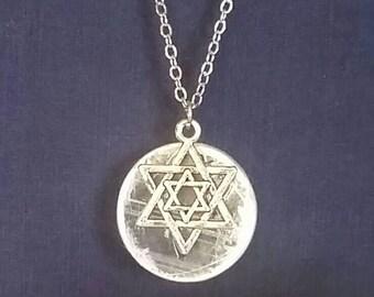 Merkaba Necklace // Sacred Geometry // White Light Selenite Crystal // Spiritual Meditation Pendant // Metaphysical Full Moon Stone