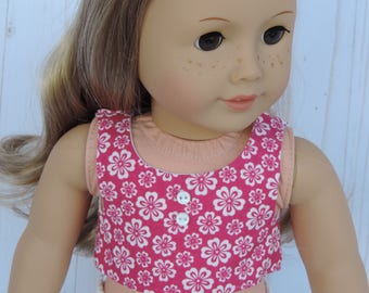 Flowered Fuschia Crop Top for American Girl Dolls and other 18 inch dolls