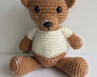 Crochet Teddy Bear, Ready to Ship, Brown Bear, Crochet Bear, Baby Gift, Gender Neutral, Birthday, Amigurumi, Woodland Crochet Animals