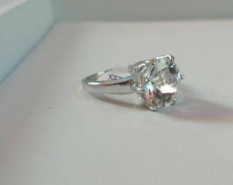 White Topaz Sterling Silver Ring, Rhodium Plated, Natural Gemstone