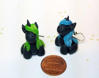 Unicorn Earrings, Glittery Blue & Green - Standard
