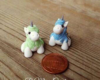 Glittery Blue & Green Unicorn Earrings! - Small