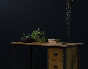 KONK! INDUSTRIAL 'Simple' Oak Desk with Drawers. Table [Bespoke sizes!] Rustic Reclaimed