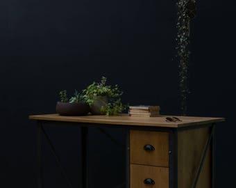KONK! INDUSTRIAL 'Simple' Oak Desk with Drawers. Table [Bespoke sizes!] Rustic Reclaimed