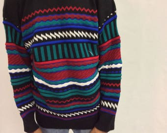 Vintage 80s Out of Bounds Graphic Pullover Knit Sweater